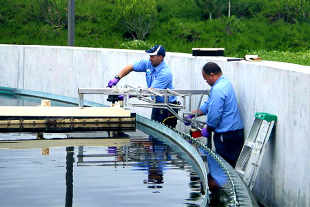 PWA W&S Engineers working on the water pool in Moorpark.