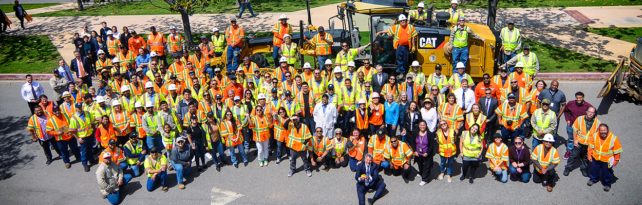 All Public Works staff taking a picture at the end of the Public Works Day.