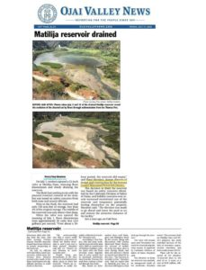 Ojai Valley News article on draining of Matilija
